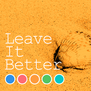"""Photo of a shell on sand with words """"Leave it Better"""""""