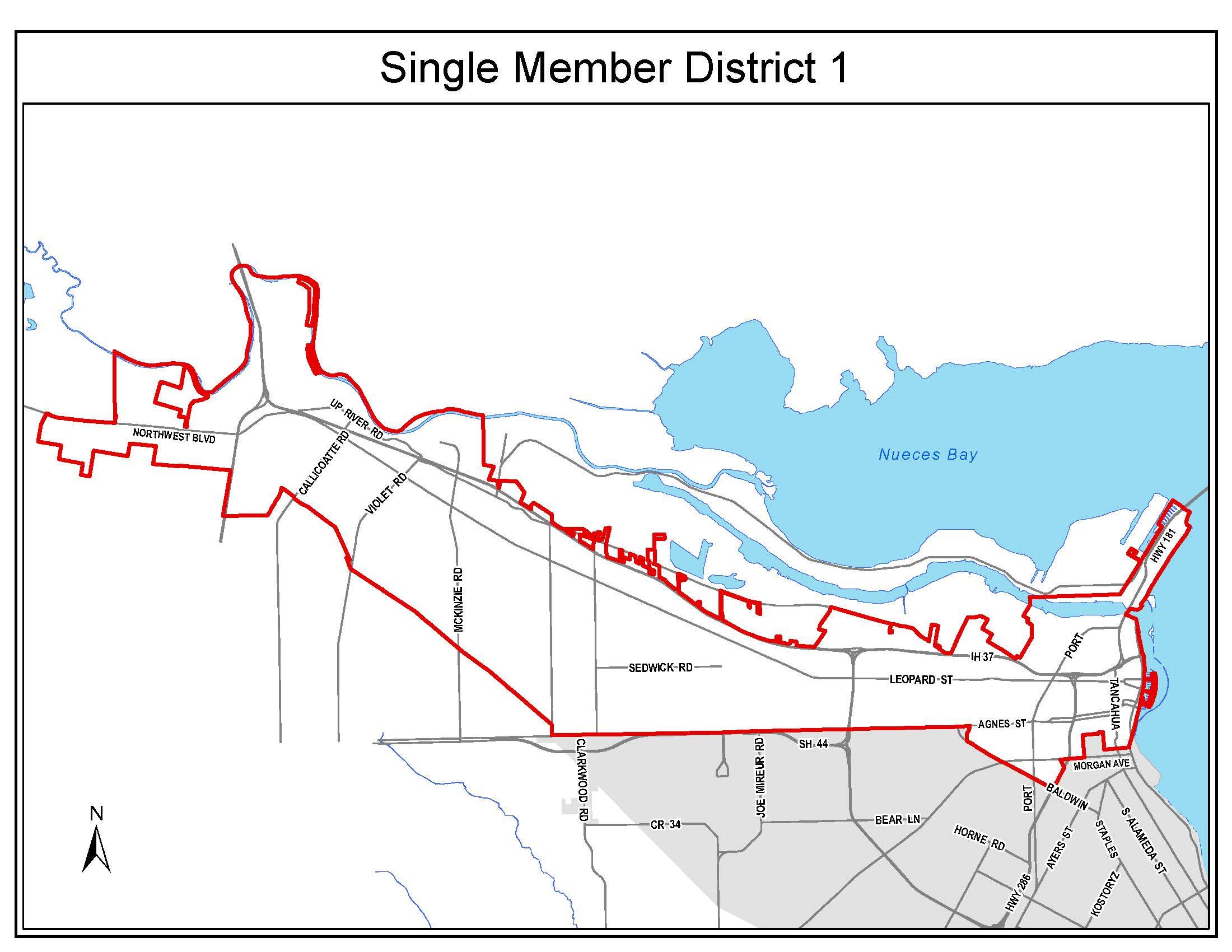 Council District 1 boundaries