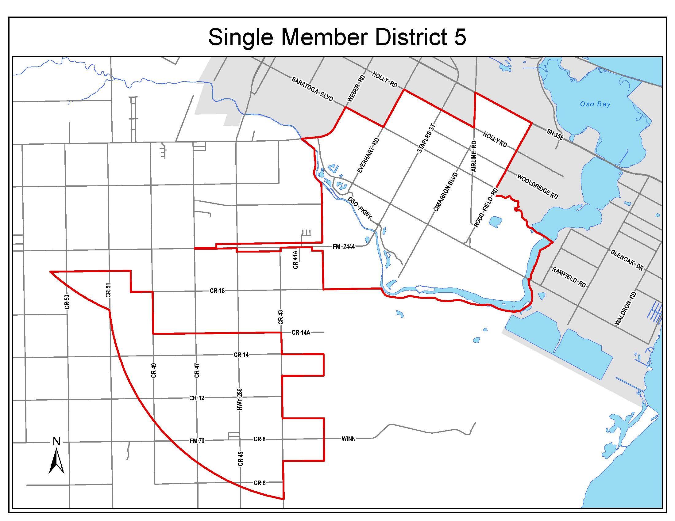 Council District 5 boundaries