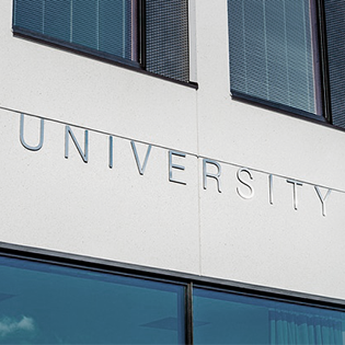 University Lettering on Building