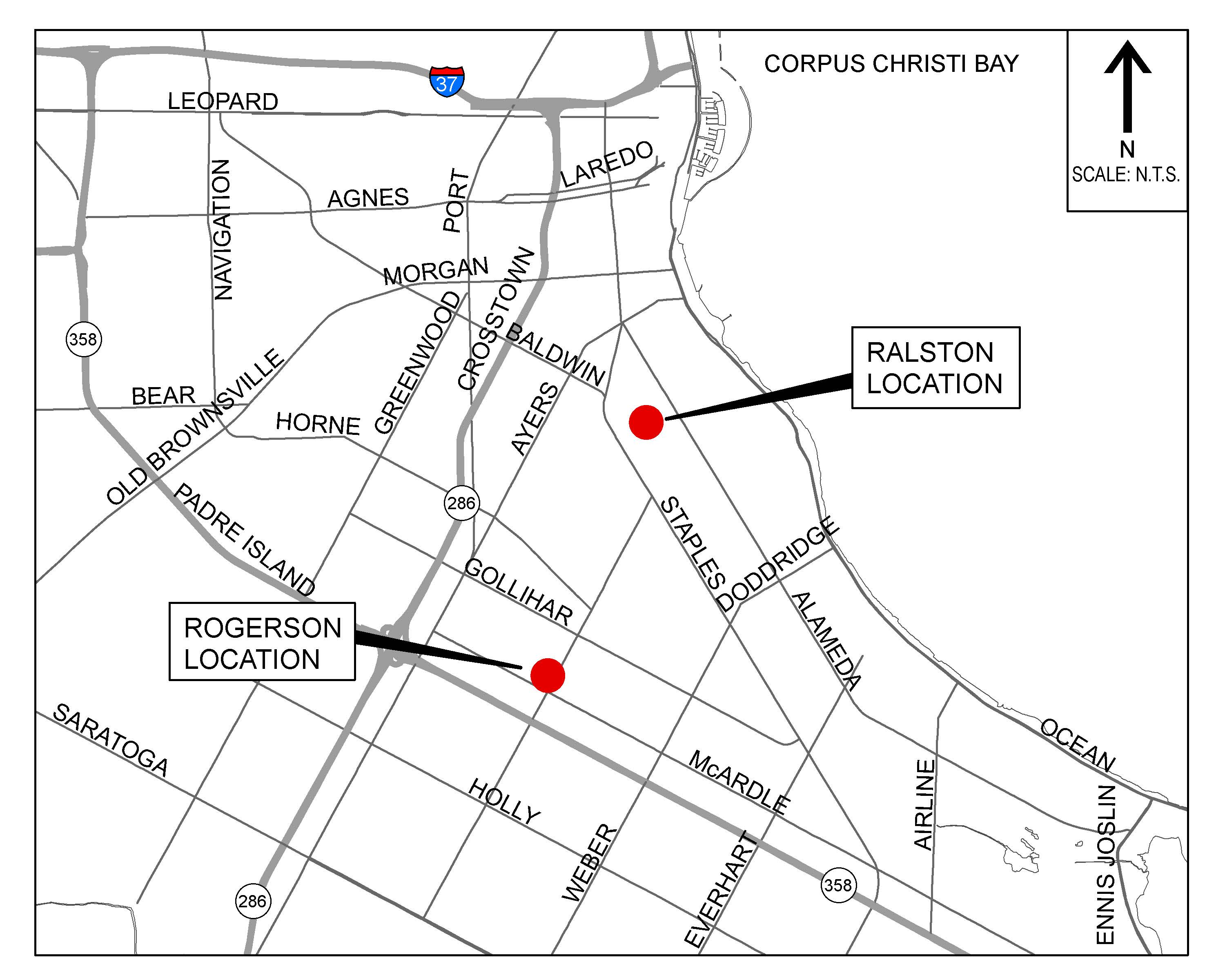 Vicinity map of test projects - Ralston Street and Rogerson Drive