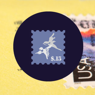Stamp icon in front of photo of letter