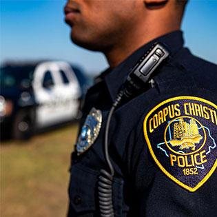 Officer's badge on shoulder