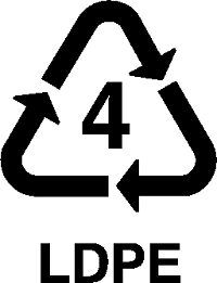 Recycling triangle with the number 4