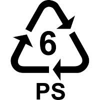 Recycling triangle with the number 6